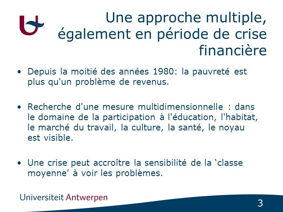 3 Une approche multiple, également en période de crise financière Depuis la moitié des années 1980: la pauvreté est plus qu un problème de revenus.
