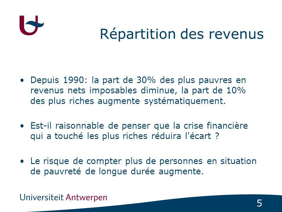 5 Répartition des revenus Depuis 1990: la part de 30% des plus pauvres en revenus nets imposables diminue, la part de 10% des plus riches augmente systématiquement.