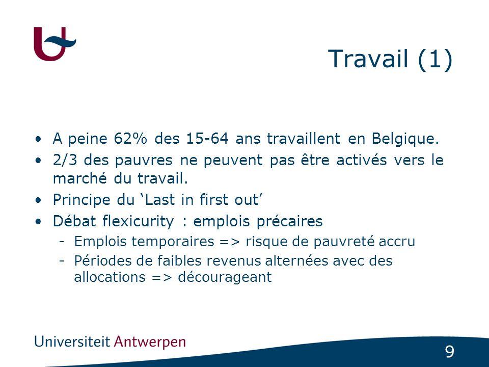 9 Travail (1) A peine 62% des 15-64 ans travaillent en Belgique. 2/3 des pauvres ne peuvent pas être activés vers le marché du travail. Principe du La