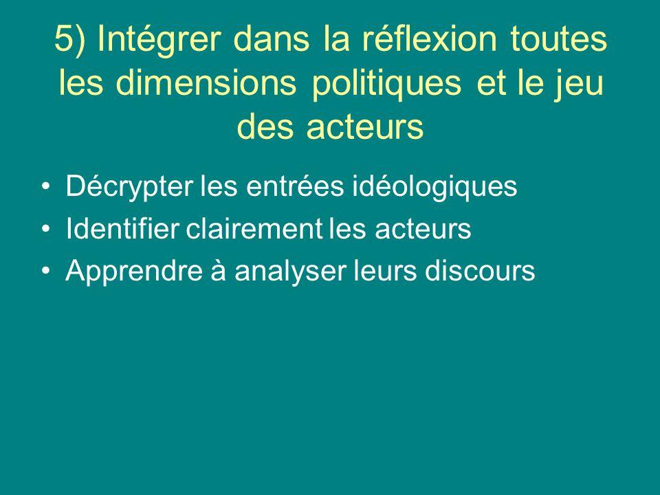 5) Intégrer dans la réflexion toutes les dimensions politiques et le jeu des acteurs Décrypter les entrées idéologiques Identifier clairement les acteurs Apprendre à analyser leurs discours