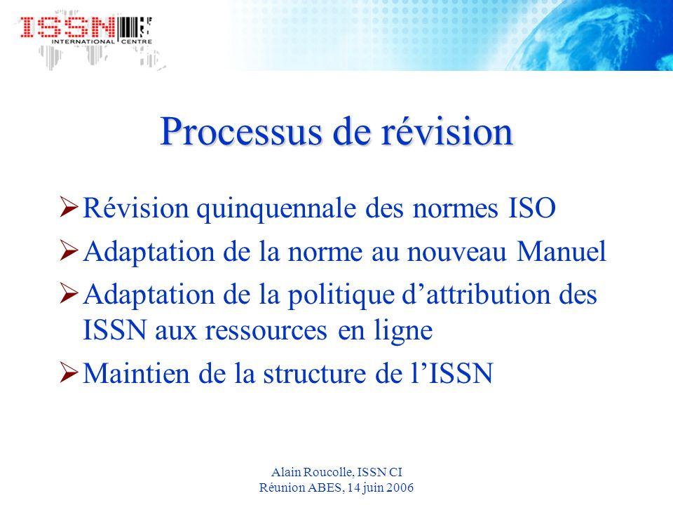 Alain Roucolle, ISSN CI Réunion ABES, 14 juin 2006 Processus de révision Révision quinquennale des normes ISO Adaptation de la norme au nouveau Manuel Adaptation de la politique dattribution des ISSN aux ressources en ligne Maintien de la structure de lISSN