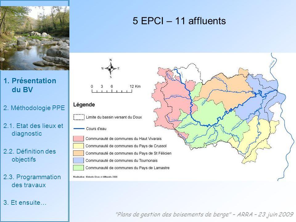 5 EPCI – 11 affluents Plans de gestion des boisements de berge – ARRA – 23 juin 2009 1.