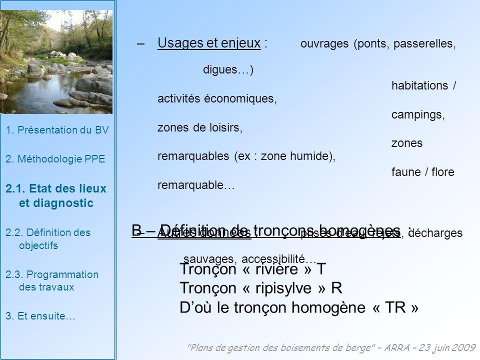 Plans de gestion des boisements de berge – ARRA – 23 juin 2009 1.