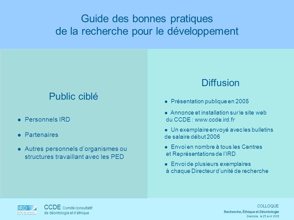 Public ciblé Personnels IRD Partenaires Autres personnels dorganismes ou structures travaillant avec les PED CCDE Comité consultatif de déontologie et