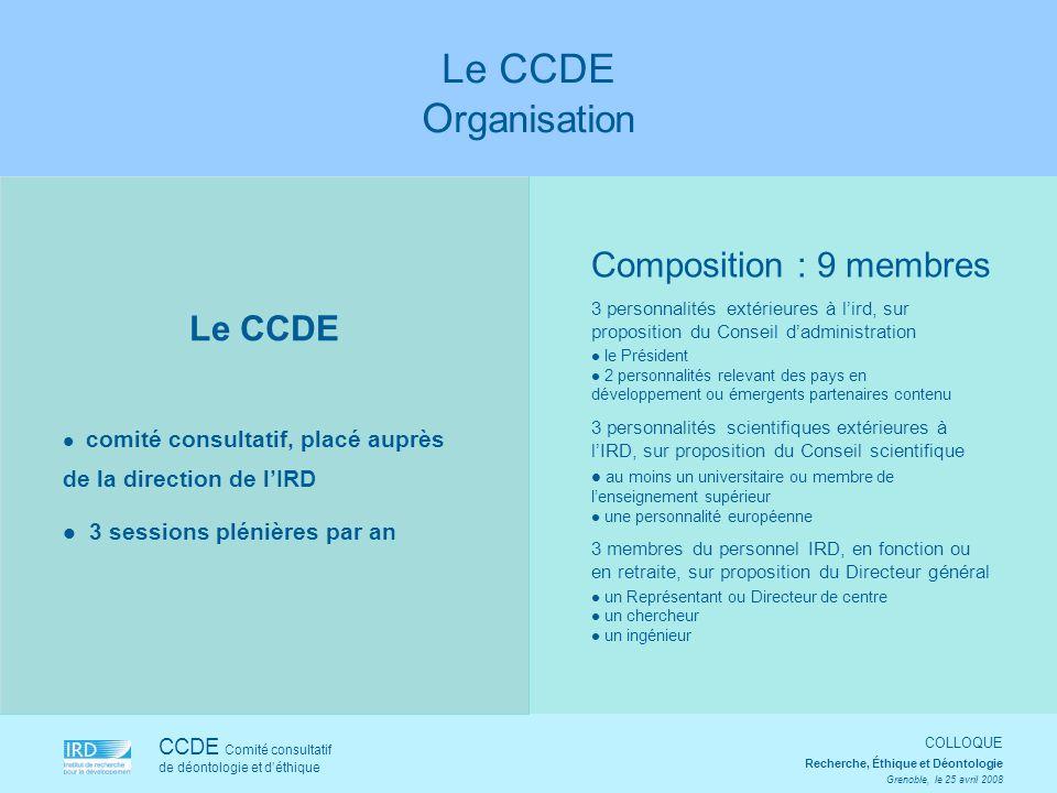 Le CCDE comité consultatif, placé auprès de la direction de lIRD 3 sessions plénières par an CCDE Comité consultatif de déontologie et déthique COLLOQ