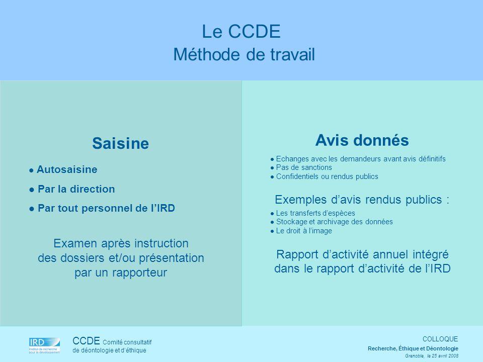 Saisine Autosaisine Par la direction Par tout personnel de lIRD Examen après instruction des dossiers et/ou présentation par un rapporteur CCDE Comité