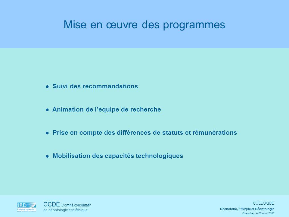 CCDE Comité consultatif de déontologie et déthique COLLOQUE Recherche, Éthique et Déontologie Grenoble, le 25 avril 2008 Suivi des recommandations Ani