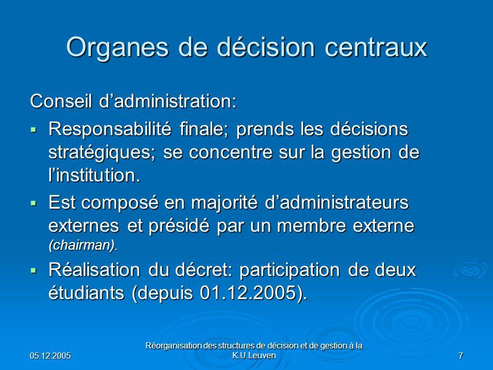 05.12.2005 Réorganisation des structures de décision et de gestion à la K.U.Leuven 7 Organes de décision centraux Conseil dadministration: Responsabilité finale; prends les décisions stratégiques; se concentre sur la gestion de linstitution.