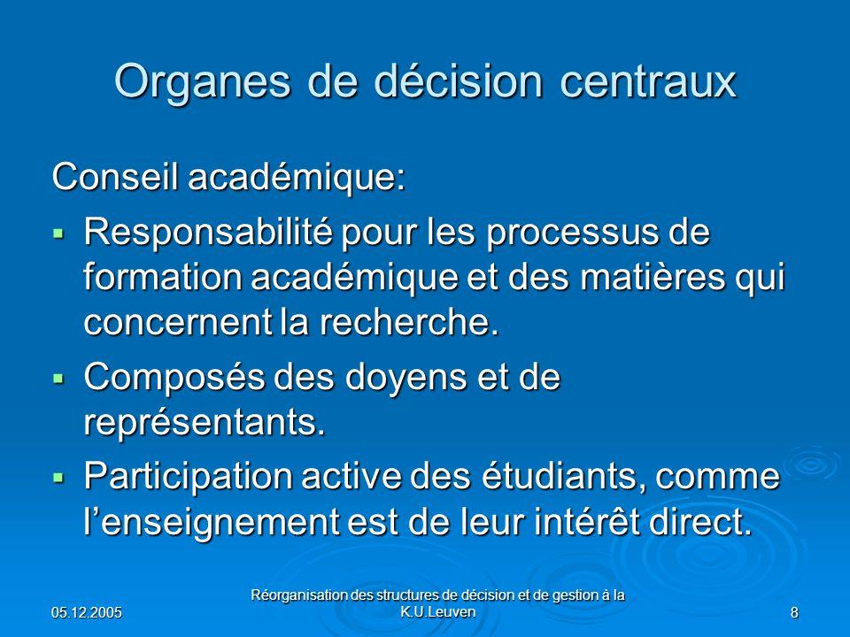 05.12.2005 Réorganisation des structures de décision et de gestion à la K.U.Leuven 8 Organes de décision centraux Conseil académique: Responsabilité pour les processus de formation académique et des matières qui concernent la recherche.