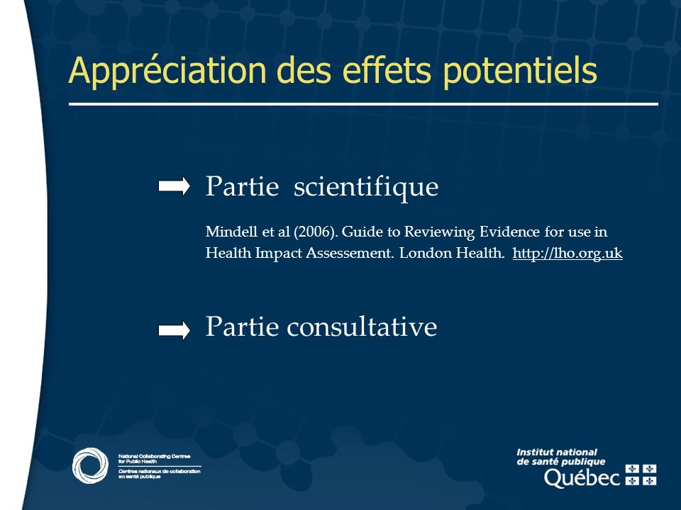 14 Appréciation des effets potentiels Partie scientifique Mindell et al (2006). Guide to Reviewing Evidence for use in Health Impact Assessement. Lond