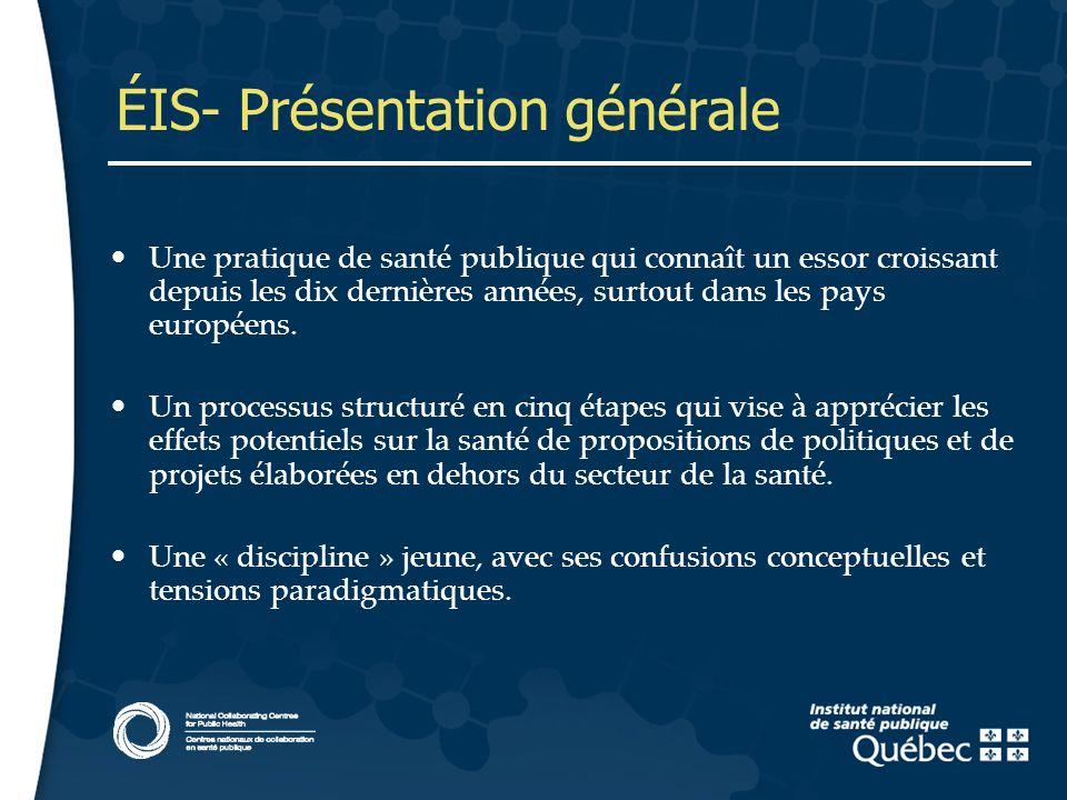 3 ÉIS- Présentation générale Une pratique de santé publique qui connaît un essor croissant depuis les dix dernières années, surtout dans les pays européens.