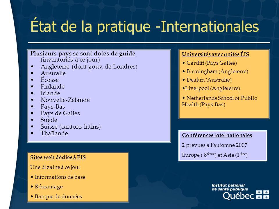 9 État de la pratique -Internationales Suède Plusieurs pays se sont dotés de guide (inventoriés à ce jour) Angleterre (dont gouv.