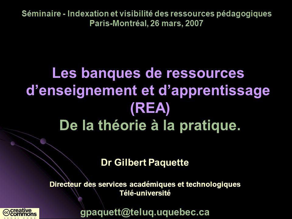 Feuille de route 2002: Projet québécois BARPETI: REA en TI 2002-04: Projet pan-canadien eduSource: outils (fédération et moisonnage), méthodes, accès 2003-08: Réseau de recherche LORNET Travaux actuels TÉLUQ-UQÀM : contribution à lUniversité bi-modale RÉA-UQ : un réseau québécois de RÉA CRÉPUQ : une banque doutils et de composantes IDLD : une banque de scénarios pédagogiques FrancoCommunautés virtuelles GLOBE – consortium international
