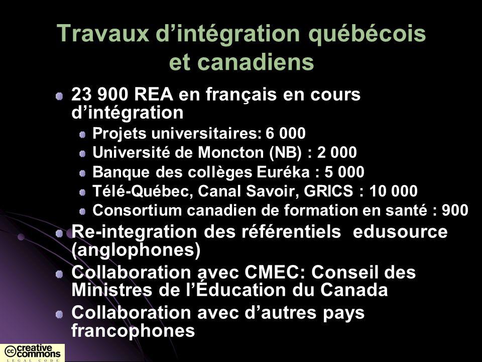 Travaux dintégration québécois et canadiens 23 900 REA en français en cours dintégration Projets universitaires: 6 000 Université de Moncton (NB) : 2
