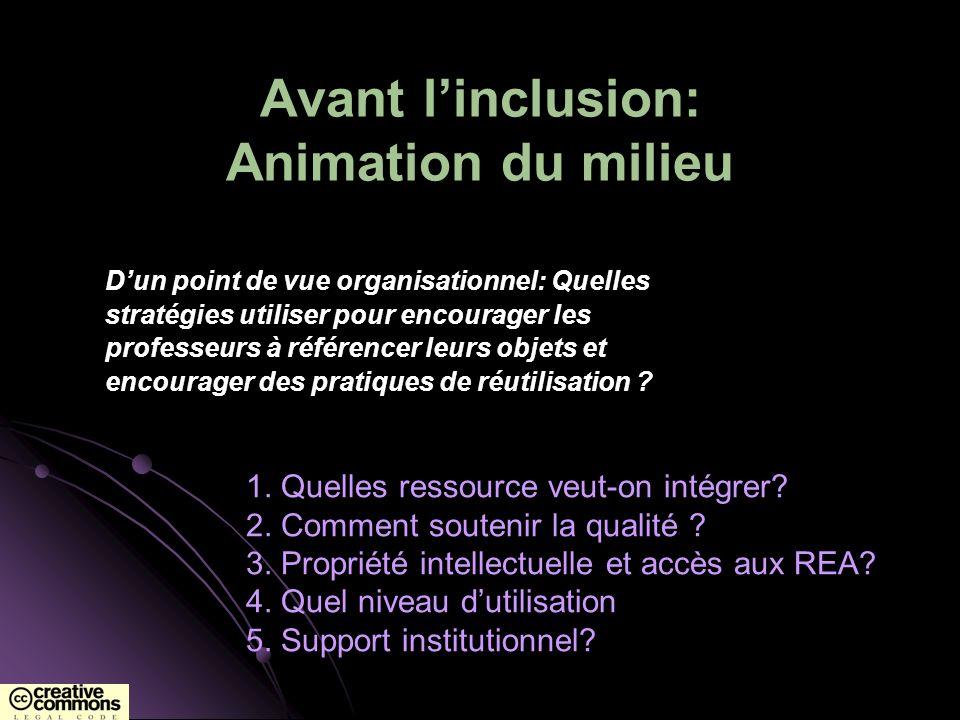Avant linclusion: Animation du milieu Dun point de vue organisationnel: Quelles stratégies utiliser pour encourager les professeurs à référencer leurs