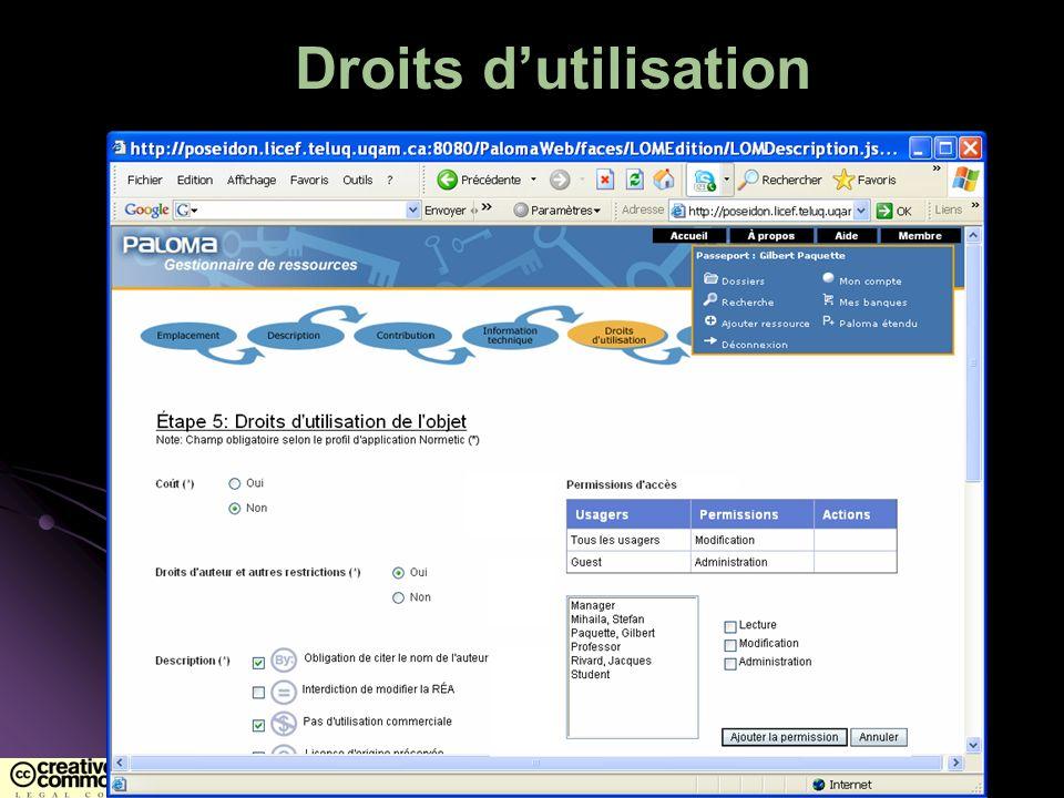 Droits dutilisation