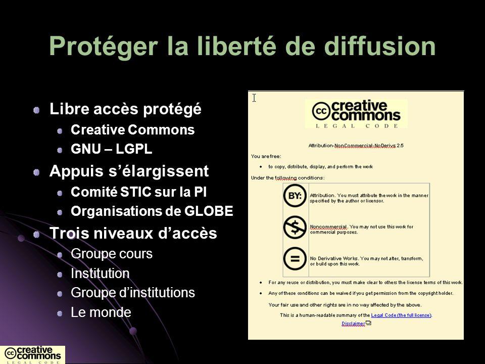 Protéger la liberté de diffusion Libre accès protégé Creative Commons GNU – LGPL Appuis sélargissent Comité STIC sur la PI Organisations de GLOBE Troi