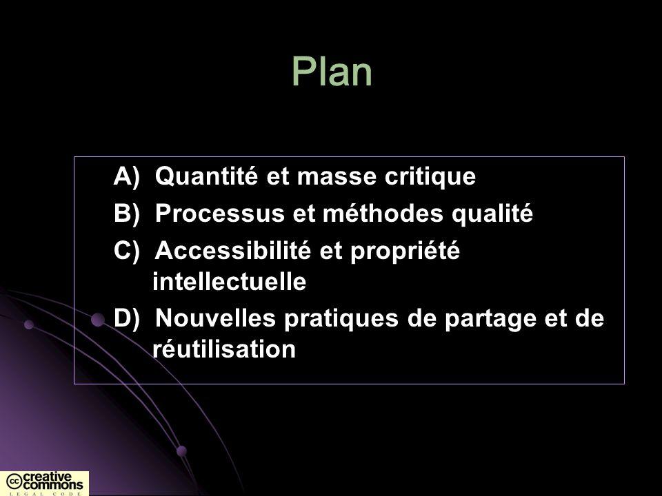 Plan A) Quantité et masse critique B) Processus et méthodes qualité C) Accessibilité et propriété intellectuelle D) Nouvelles pratiques de partage et