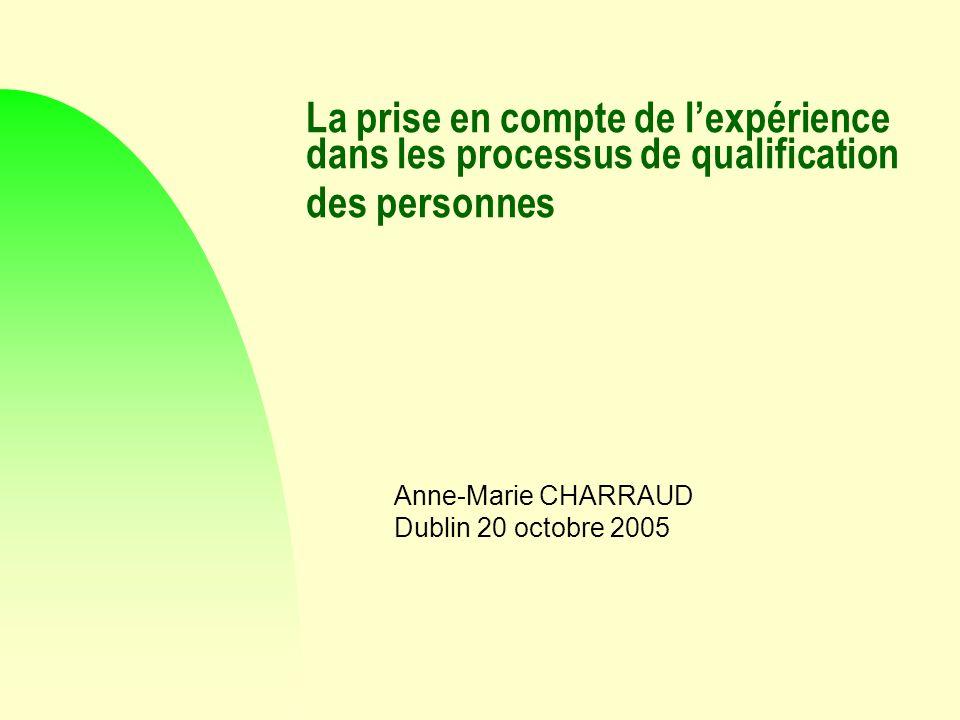 La prise en compte de lexpérience dans les processus de qualification des personnes Anne-Marie CHARRAUD Dublin 20 octobre 2005