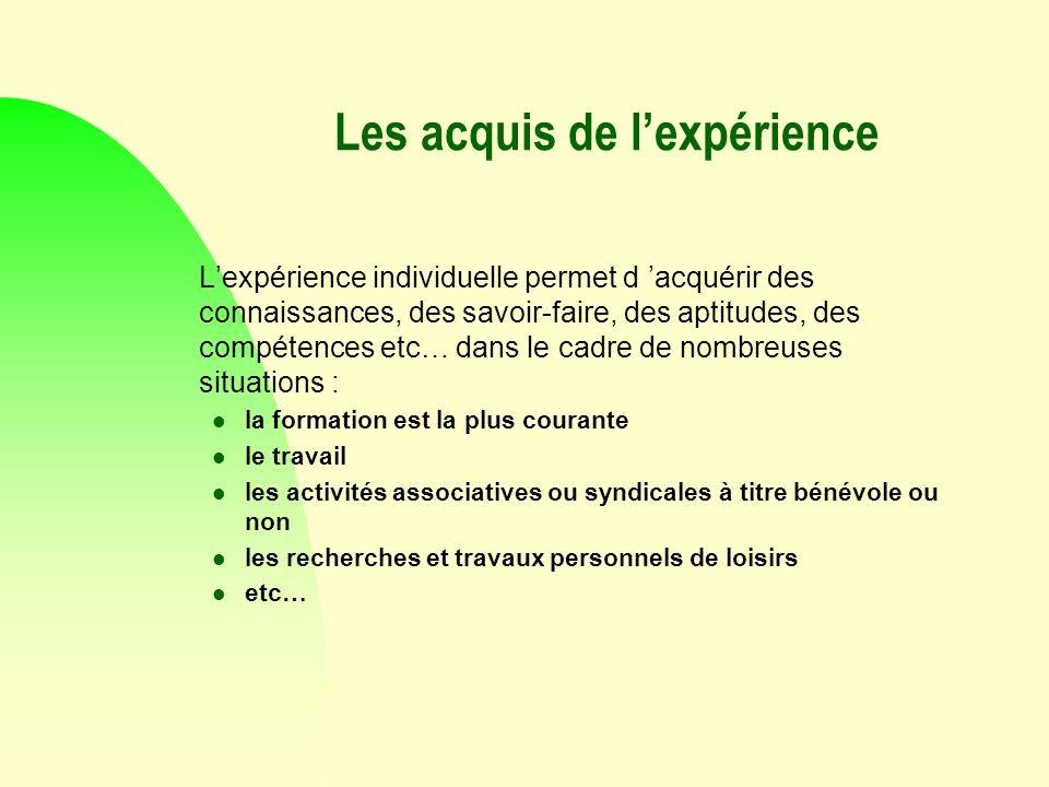 Les acquis de lexpérience Lexpérience individuelle permet d acquérir des connaissances, des savoir-faire, des aptitudes, des compétences etc… dans le
