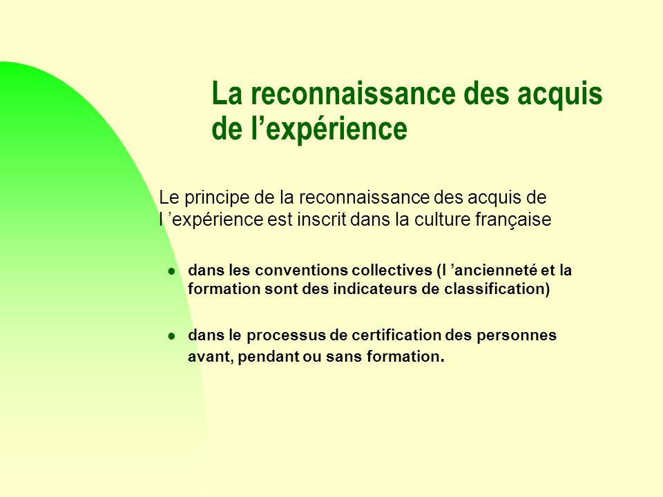 La reconnaissance des acquis de lexpérience Le principe de la reconnaissance des acquis de l expérience est inscrit dans la culture française l dans l