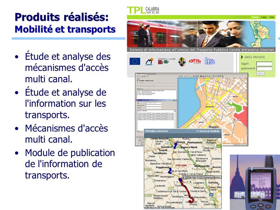 10 Produits réalisés: Mobilité et transports Étude et analyse des mécanismes d accès multi canal.
