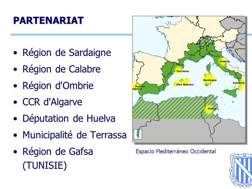 14 PARTENARIAT Région de Sardaigne Région de Calabre Région d Ombrie CCR d Algarve Députation de Huelva Municipalité de Terrassa Région de Gafsa (TUNISIE) Espacio Mediterráneo Occidental