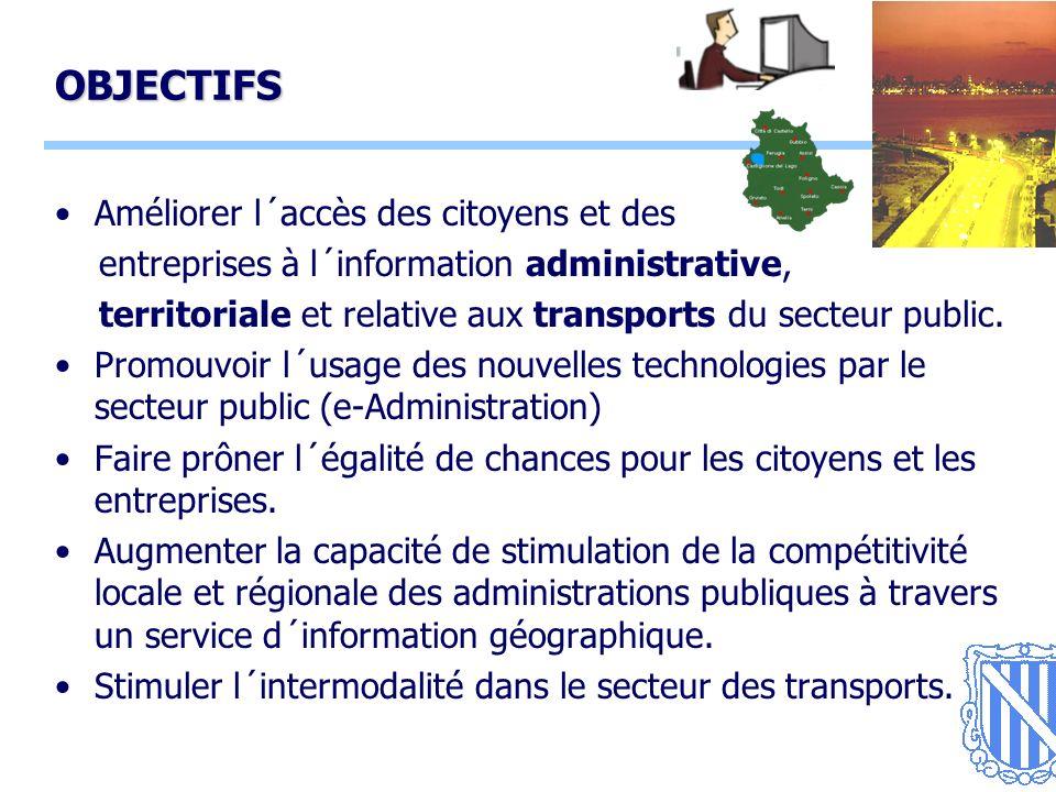 4 OBJECTIFS Améliorer l´accès des citoyens et des entreprises à l´information administrative, territoriale et relative aux transports du secteur public.
