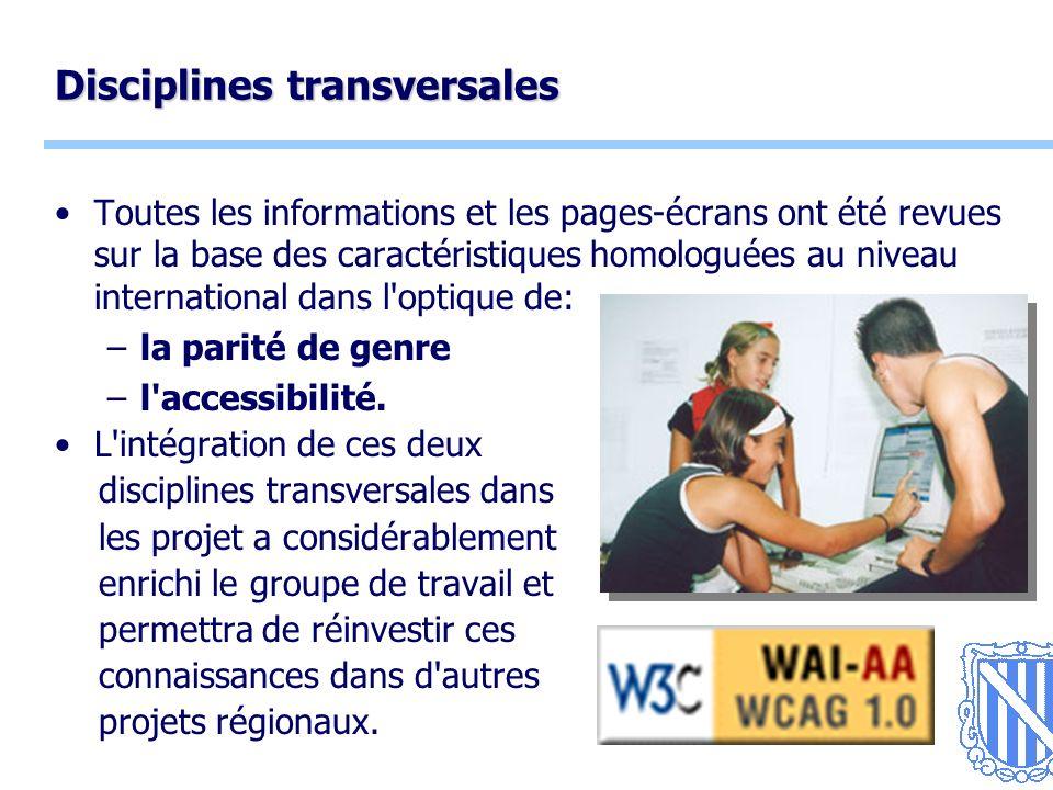 5 Disciplines transversales Toutes les informations et les pages-écrans ont été revues sur la base des caractéristiques homologuées au niveau international dans l optique de: –la parité de genre –l accessibilité.
