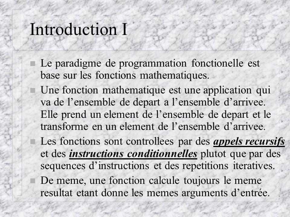 Les Structures de Donnees n Nombres: entiers ou reels n Variables: – un nom attache a un objet (define pi 3.14159) – Le type dune variable est implicite et depend de sa valeur.
