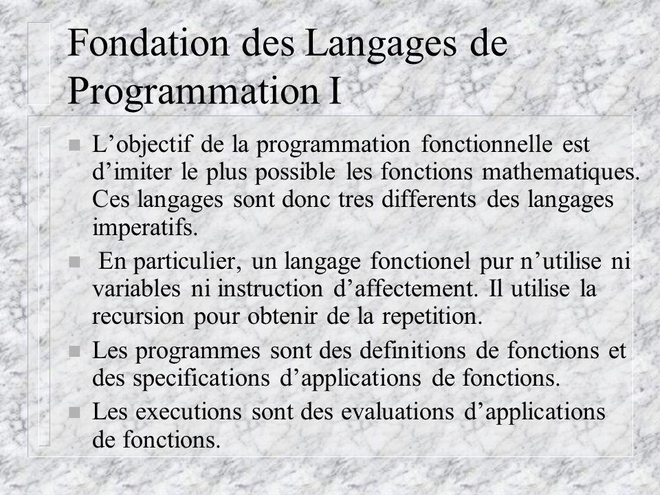 Les Fonctions Primitives II n eq?, null?, list.n =, <>, >, =, <=, even?, odd?, zero?, eqv.