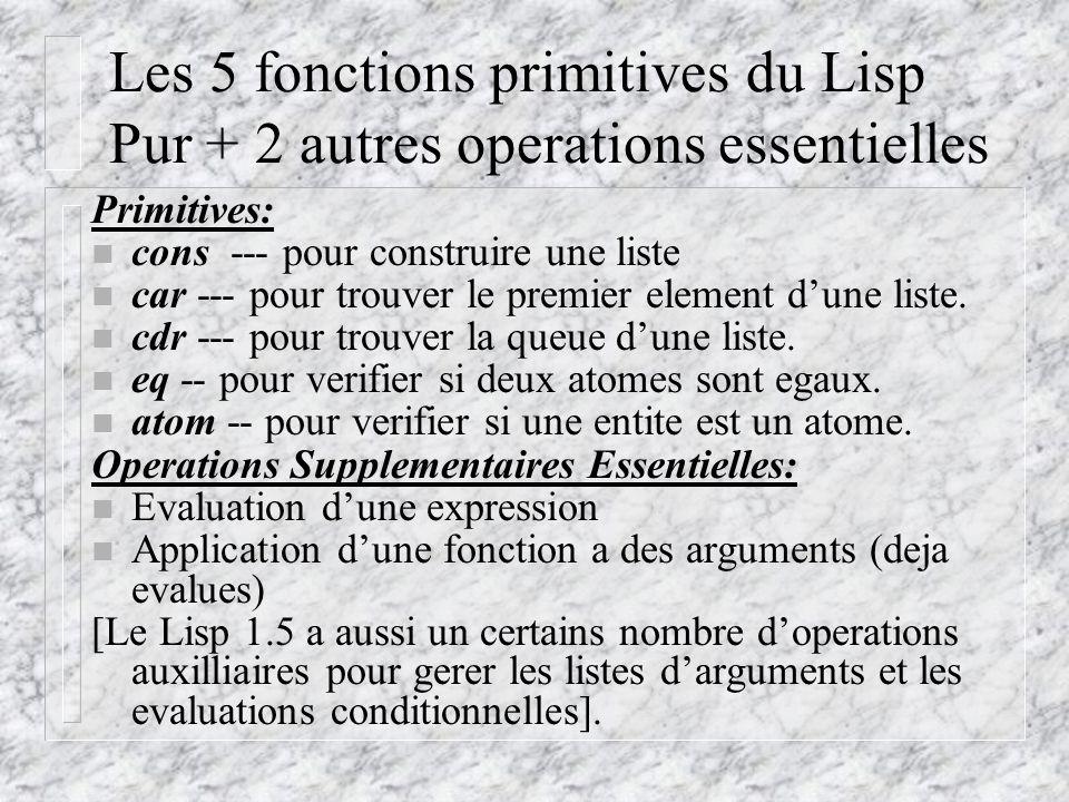 Les 5 fonctions primitives du Lisp Pur + 2 autres operations essentielles Primitives: n cons --- pour construire une liste n car --- pour trouver le premier element dune liste.