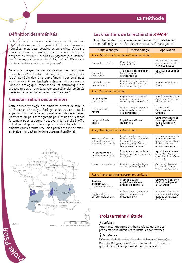 La méthode Les chantiers de la recherche AMEN Pour chacun des quatre axes de recherche, sont détaillés les champs danalyse, les méthodes et les terrai