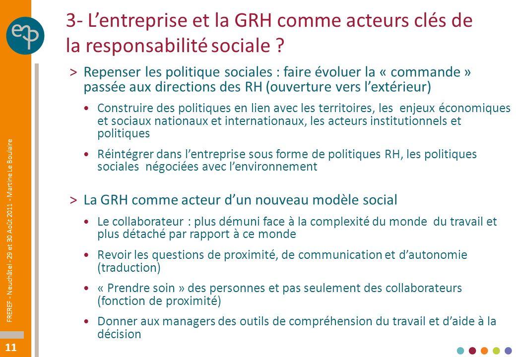 11 3- Lentreprise et la GRH comme acteurs clés de la responsabilité sociale .