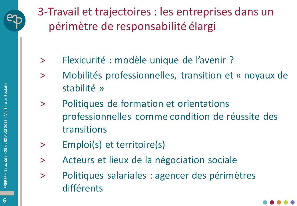 66 3-Travail et trajectoires : les entreprises dans un périmètre de responsabilité élargi >Flexicurité : modèle unique de lavenir .
