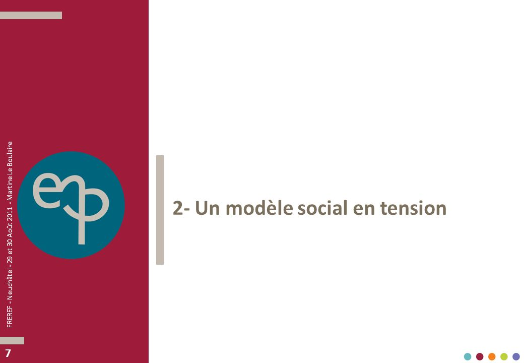 77 2- Un modèle social en tension FREREF - Neuchâtel - 29 et 30 Août 2011 - Martine Le Boulaire