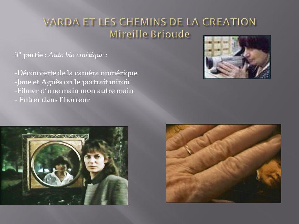 3° partie : Auto bio cinétique : -Découverte de la caméra numérique -Jane et Agnès ou le portrait miroir -Filmer dune main mon autre main - Entrer dans lhorreur