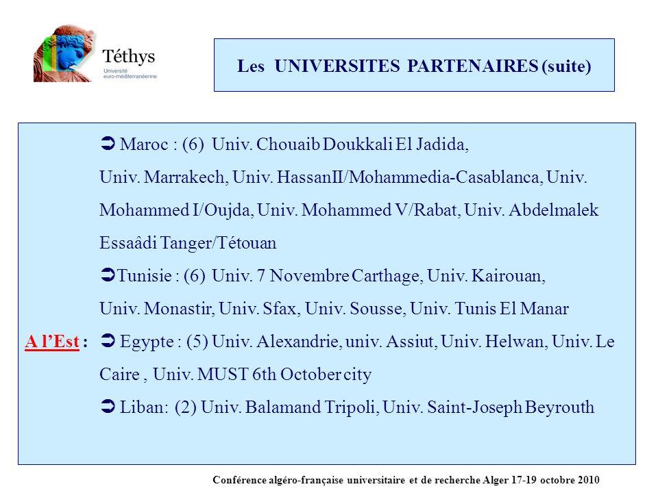 Les UNIVERSITES PARTENAIRES (suite) Maroc : (6)Univ.