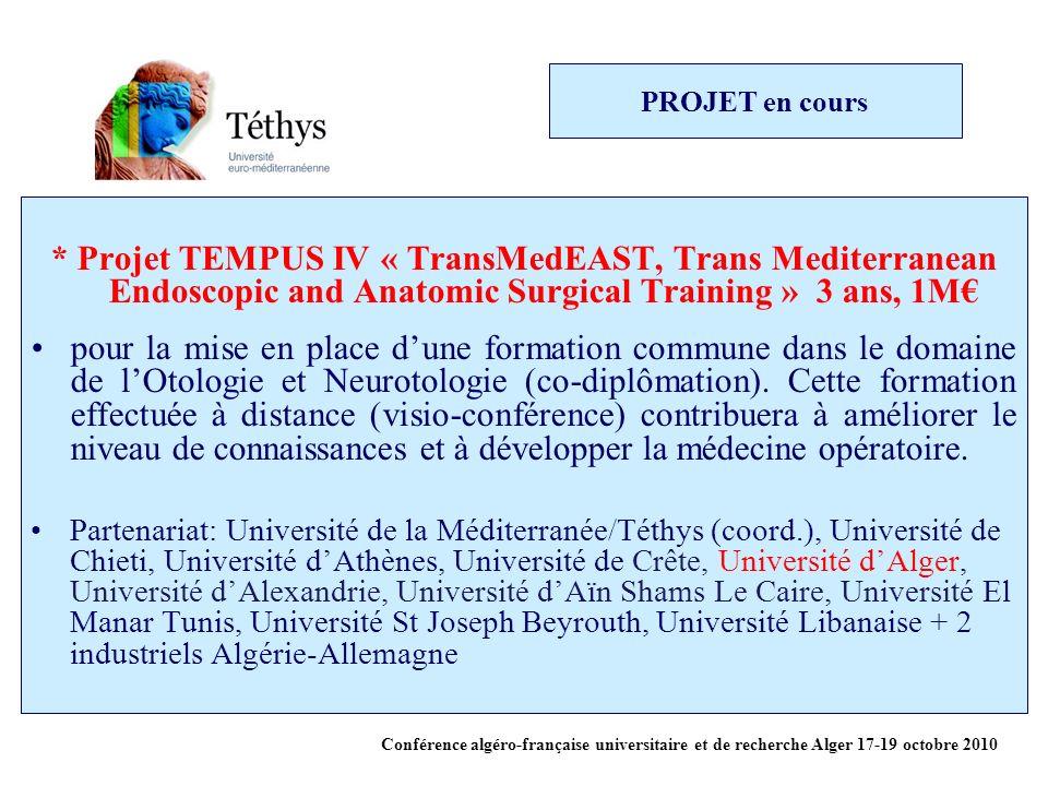 PROJET en cours * Projet TEMPUS IV « TransMedEAST, Trans Mediterranean Endoscopic and Anatomic Surgical Training » 3 ans, 1M pour la mise en place dune formation commune dans le domaine de lOtologie et Neurotologie (co-diplômation).