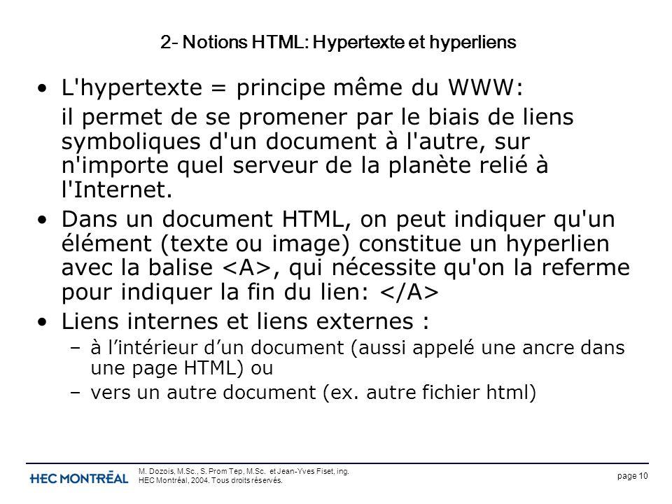 page 10 M. Dozois, M.Sc., S. Prom Tep, M.Sc. et Jean-Yves Fiset, ing. HEC Montréal, 2004. Tous droits réservés. 2- Notions HTML: Hypertexte et hyperli