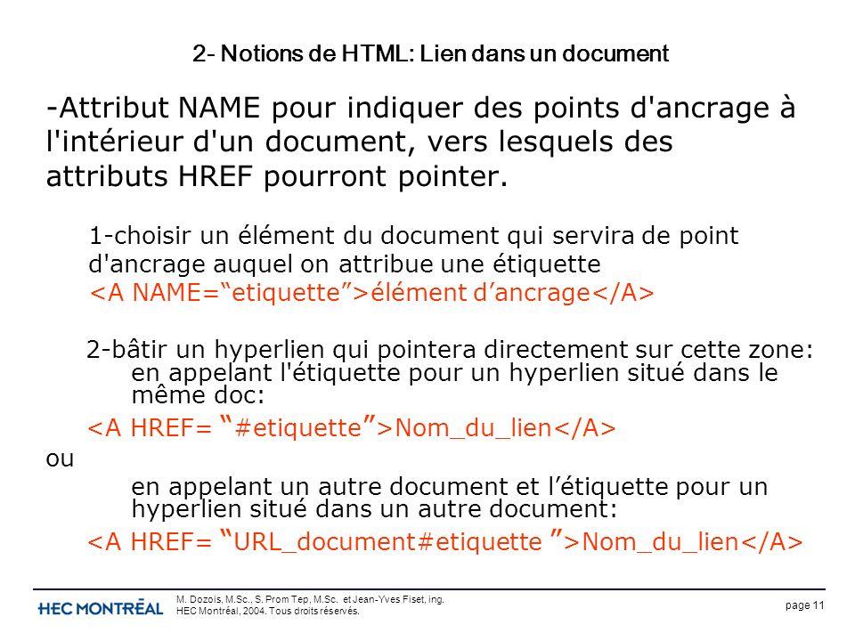 page 11 M. Dozois, M.Sc., S. Prom Tep, M.Sc. et Jean-Yves Fiset, ing. HEC Montréal, 2004. Tous droits réservés. 2- Notions de HTML: Lien dans un docum
