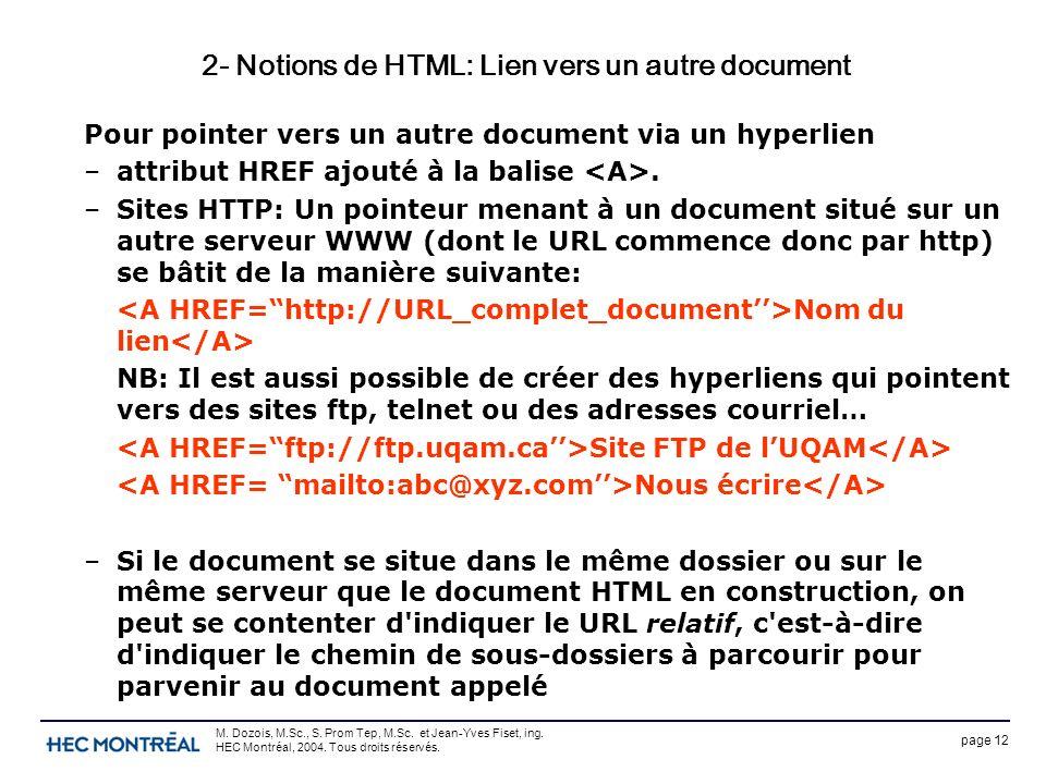 page 12 M. Dozois, M.Sc., S. Prom Tep, M.Sc. et Jean-Yves Fiset, ing. HEC Montréal, 2004. Tous droits réservés. 2- Notions de HTML: Lien vers un autre