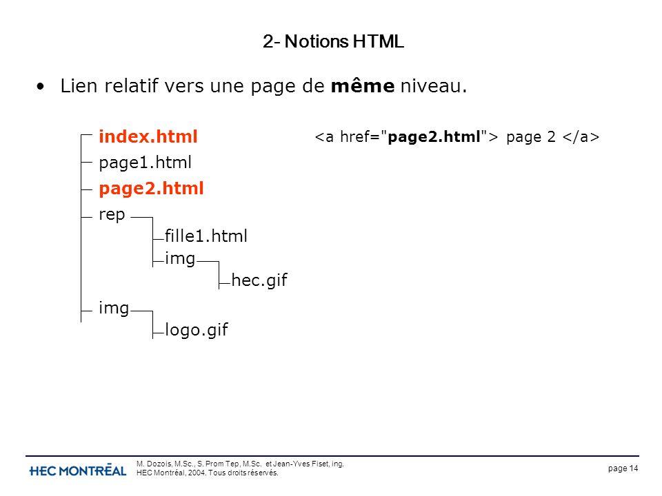 page 14 M. Dozois, M.Sc., S. Prom Tep, M.Sc. et Jean-Yves Fiset, ing. HEC Montréal, 2004. Tous droits réservés. 2- Notions HTML Lien relatif vers une