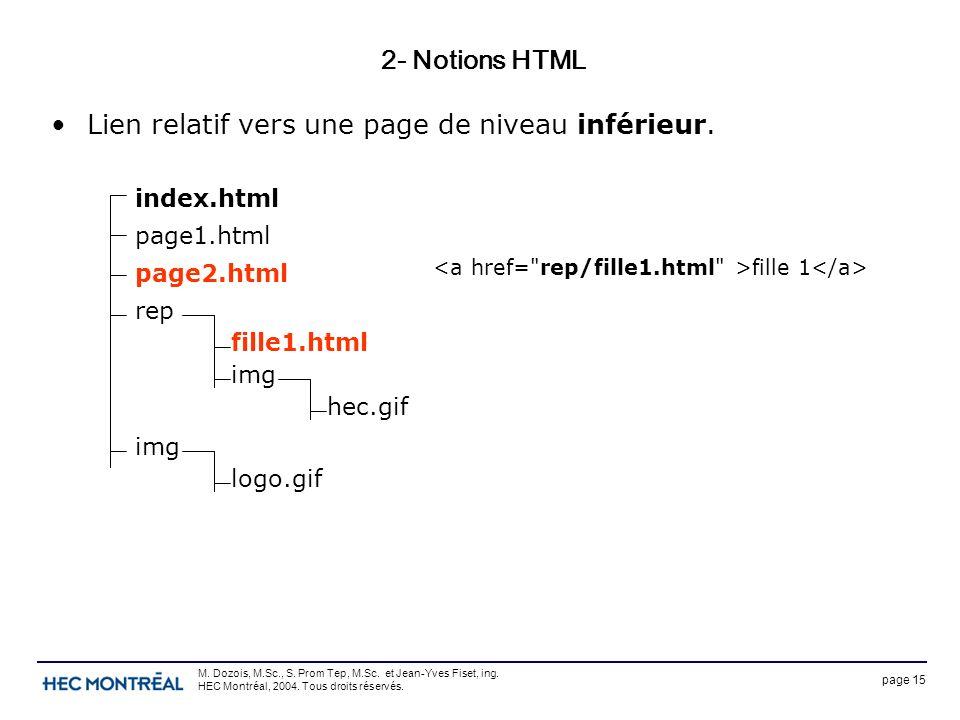 page 15 M. Dozois, M.Sc., S. Prom Tep, M.Sc. et Jean-Yves Fiset, ing. HEC Montréal, 2004. Tous droits réservés. 2- Notions HTML Lien relatif vers une