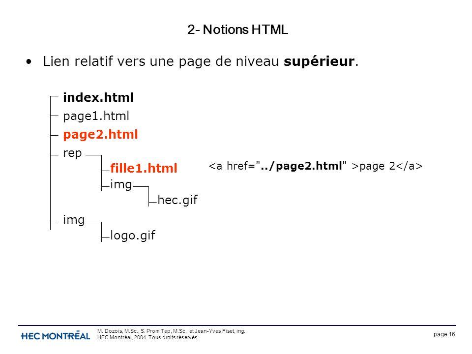 page 16 M. Dozois, M.Sc., S. Prom Tep, M.Sc. et Jean-Yves Fiset, ing. HEC Montréal, 2004. Tous droits réservés. 2- Notions HTML Lien relatif vers une