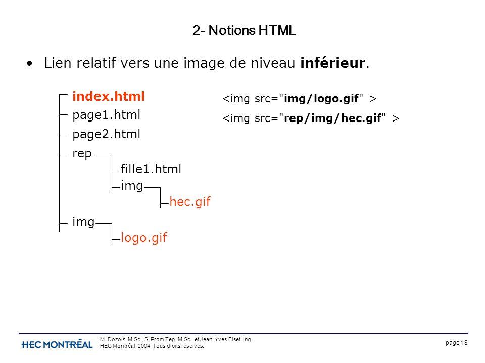 page 18 M. Dozois, M.Sc., S. Prom Tep, M.Sc. et Jean-Yves Fiset, ing. HEC Montréal, 2004. Tous droits réservés. 2- Notions HTML Lien relatif vers une