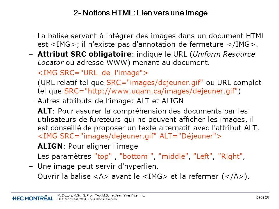 page 20 M. Dozois, M.Sc., S. Prom Tep, M.Sc. et Jean-Yves Fiset, ing. HEC Montréal, 2004. Tous droits réservés. 2- Notions HTML: Lien vers une image –
