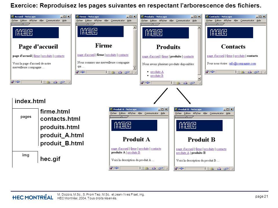 page 21 M. Dozois, M.Sc., S. Prom Tep, M.Sc. et Jean-Yves Fiset, ing. HEC Montréal, 2004. Tous droits réservés. Exercice: Reproduisez les pages suivan