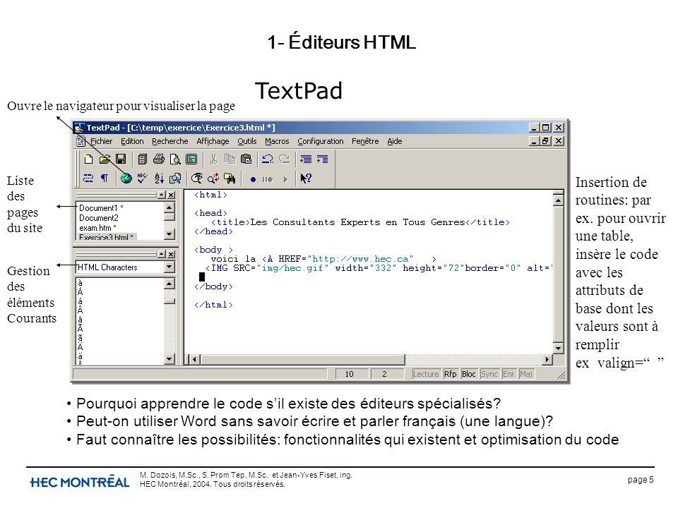 page 5 M. Dozois, M.Sc., S. Prom Tep, M.Sc. et Jean-Yves Fiset, ing. HEC Montréal, 2004. Tous droits réservés. 1- Éditeurs HTML TextPad Pourquoi appre