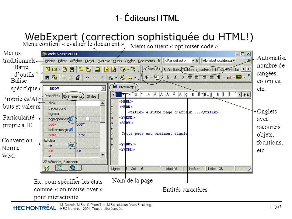 page 7 M. Dozois, M.Sc., S. Prom Tep, M.Sc. et Jean-Yves Fiset, ing. HEC Montréal, 2004. Tous droits réservés. 1- Éditeurs HTML WebExpert (correction